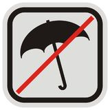 Prohibition of entry with umbrella, black silhouette of umbrella, vector icon, button, black and gray frame Royalty Free Stock Images