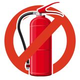 Prohibition of extinguishing fire equipment. Strict ban on water extinguishing, forbid. Stop firefighting. Master vector illustration, isolated on white Royalty Free Stock Image