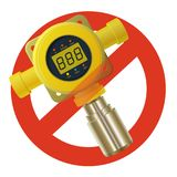 Prohibition of gas detector. Strict ban on constructing of yellow gas meter with digital LCD display, forbid. Prohibition of gas detector. Strict ban on Stock Photography
