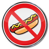 Prohibition for hot dogs with sausage and mustard Stock Images