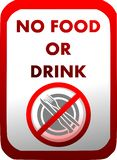Prohibition of introduction of food and drinks in red isolated. A ban on the introduction of food and drink with cutlery that can be used in all those places royalty free illustration