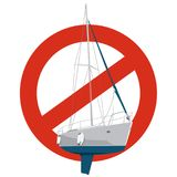 Prohibition of motor yacht. Strict ban on construction of sailing boat, forbid. Stop sailboat. Royalty Free Stock Photography