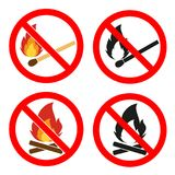 Heat symbols. Inflammable signs. Flat icon pointers. Prohibition open flame symbol. Red icon on white background. No Fire sign.Fire flame icons. Heat symbols Stock Photos