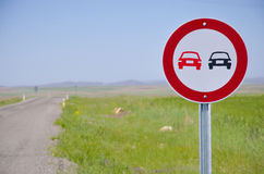Prohibition of overtaking the lead plate. Stock Photos