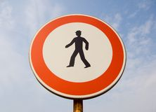 Prohibition of pedestrians royalty free stock photography