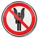 Prohibition for people with wings and dreams stock photos