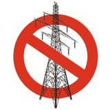 Prohibition of power lines. Strict ban on construction of electric pylons. Stop electricity caution. Vector high voltage pylon warning, white background Royalty Free Stock Photography