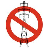 Prohibition of power lines. Strict ban on construction of electric pylons. Stop electricity caution. Vector high voltage pylon warning on white background Royalty Free Stock Images