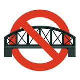 Prohibition of railway bridge. Strict ban on construction bridges, forbid. Stop transportation caution. Prohibition of bridge crossing. Vector rail line royalty free illustration