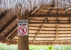 Prohibition Red Sign in the Park. stock photos