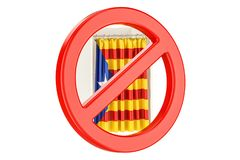 Prohibition of referendum in Catalonia concept. Voting booth wit Royalty Free Stock Photos