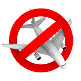 Prohibition road sign airplane fighter. Prohibition road sign airplane, 3d illustration Stock Photo