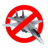 Prohibition road sign airplane fighter. 3d illustration Royalty Free Stock Image
