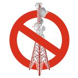 Prohibition of satellite tower. Strict ban on construction of transmission tower pylons. Stop telephone, television signals caution. Vector red-white Royalty Free Stock Photo