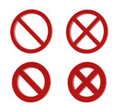 Prohibition sign. 3d forbidden sign isolated on the white background Royalty Free Stock Photos