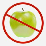 Prohibition Sign with Apple Royalty Free Stock Images