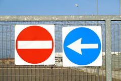 Prohibition sign and arrow . Red no entry traffic Stock Images