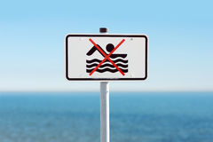 Prohibition sign on the Baltic Sea Stock Photo