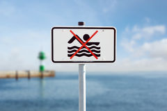 Prohibition sign on the Baltic Sea Royalty Free Stock Images