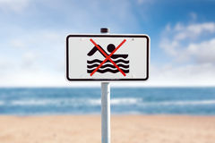 Prohibition sign on the Baltic Sea Royalty Free Stock Photos