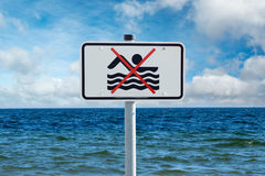 Prohibition sign on the Baltic Sea Stock Image