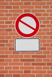 Prohibition sign with blank letter plate Royalty Free Stock Photography