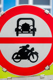 Prohibition sign for car and motorcycle Royalty Free Stock Photos