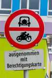Prohibition sign for car and motorcycle Royalty Free Stock Image