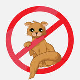 Prohibition sign with the cat Stock Image