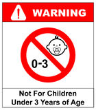 Prohibition sign for children.Not for children under 3 years sign. Vector illustration Royalty Free Stock Image