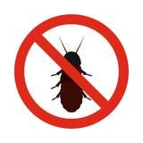 Prohibition sign coleoptera icon, flat style Stock Images