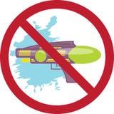 Prohibition sign colorful water gun kids toy. Cartoon illustration royalty free illustration