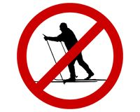 Prohibition sign for cross-country skiing Stock Image