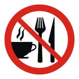 Prohibition sign, cup and cutlery, red circle frame Stock Photos