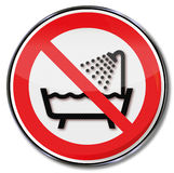 Prohibition sign do not use this unit in the bath Stock Photo