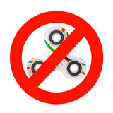 Prohibition Sign with Fidget Finger Spinner Antistress Toy. 3d R Stock Image