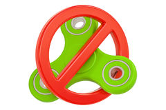 Prohibition sign with fidget spinner, 3D rendering Royalty Free Stock Image