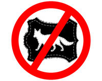 Prohibition sign fox fur Stock Photos