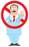 Prohibition sign with funny doctor Royalty Free Stock Photo