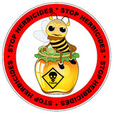 Prohibition sign for herbicide, with sick bee, Stock Image