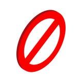 Prohibition sign icon, isometric 3d style. Prohibition sign icon in isometric 3d style on a white background stock illustration