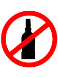 Prohibition sign icon.  No drink with bottle. Royalty Free Stock Photo