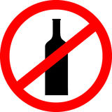 Prohibition sign icon. No drink with bottle. Stock Photography