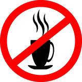 Prohibition sign icon. No drink hot coffee or tea. Stock Images
