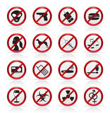 Prohibition Sign and icons Royalty Free Stock Photo