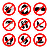 Prohibition sign icons collection, set of vector illustration  on white. Red forbidden circle Royalty Free Stock Photo
