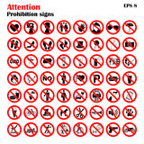 Prohibition sign icons collection, set of vector illustration  on white. Red forbidden circle Stock Photo