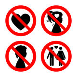 Prohibition sign icons collection, set of vector illustration  on white. Red forbidden circle. No love, no girls Stock Photos