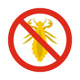 Prohibition sign insects icon, flat style Royalty Free Stock Photo