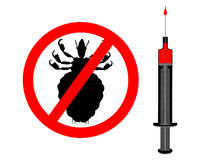Prohibition sign for lice and inoculation Royalty Free Stock Photography